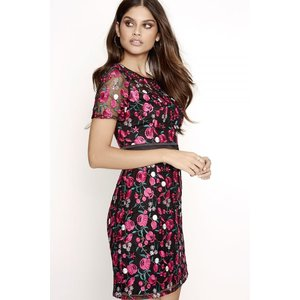 Girls On Film Pink Embroidered Dress Size: 12 Uk, Colour: Print A7gf0109pp12