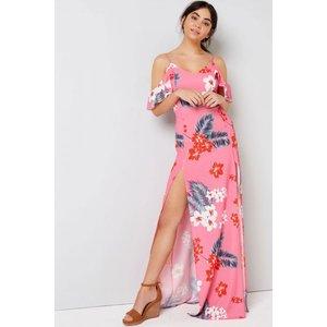 Girls On Film Pink Tropical Maxi Dress  Size: 16 Uk, Colour: Print S7gf0191pk16