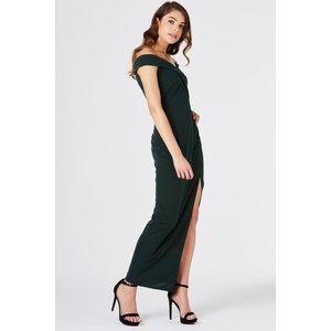 Girls On Film Pose Foldover Bardot Maxi Dress Size: 16 Uk, Colour: Tea A8gf0102gr16