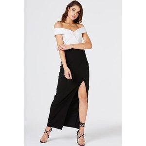 Girls On Film Pose Foldover Bardot Maxi Dress Size: 16 Uk, Colour: Bla A8gf0108mo16