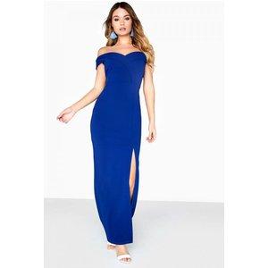 Girls On Film Pose Foldover Bardot Maxi Dress Size: 8 Uk, Colour: Navy S8gf0134ny8