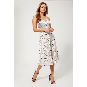 Girls On Film Prospect Silver Polka-dot Pleated Midi Skirt Size: 12 Uk A9gf0503sl12