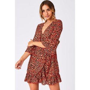 Girls On Film Ritzy Orange Leopard-print Frill Wrap Dress Size: 8 Uk, A9gf0103or8