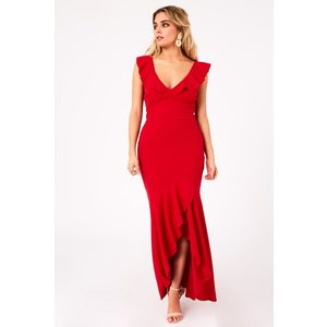 Girls On Film Tammi Red Fishtail Maxi Dress Size: 10 Uk, Colour: Red A9gf0113rd10