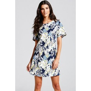 Girls On Film Tropical Print  Tunic Dress Size: 12 Uk, Colour: Floral Ss15 Gfab017 2412