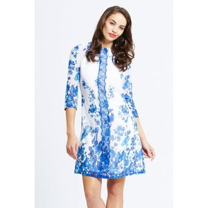 Little Mistress Blue And White Floral Tunic Dress Size: 16 Uk, Colour: Aw14 Aab024 2416