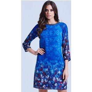 Little Mistress Blue Water Paint Floral Tunic Dress Size: 10 Uk, Colou Ss15 Aac039 2410