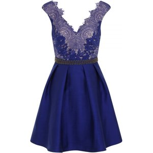 Little Mistress Cobalt Embellished Lace Fit And Flare Dress Size: 6 Uk Ss16 Aaa018 706