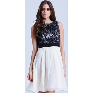 Little Mistress Cream And Black Fit And Flare Floral Dress Size: 16 Uk Ss15 Aac040 2416