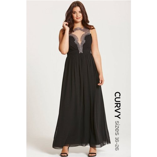 Little Mistress Curvy Black Embroidered Maxi Dress Size: 16 Uk, Colour Aw15 Cad019 9916