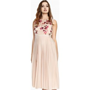 Little Mistress Curvy Embroidered Dress Size: 22 Uk, Colour: Beige S8lc0129cr22