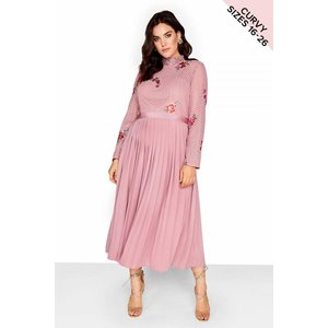 Little Mistress Curvy Embroidered Dress Size: 22 Uk, Colour: Pink S8lc0120pk22