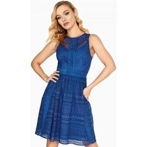 Little Mistress Emilia Geometric Lace Skater Size: 14 Uk, Colour: Blue A8lm0132bl14