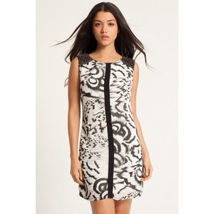 Little Mistress Feather Print Embellished Shoulder Tunic Dress Size: 8 Aw14 Xab020 248