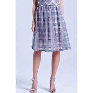 Little Mistress Grey And Pink Organza Gingham Skirt Size: 18 Uk, Colou Ss15 Ggd002 2418
