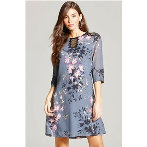 Little Mistress Grey Floral Print And Lace Tunic Dress Size: 18 Uk, Co Ss16 Aab010 2418