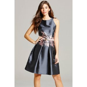 Little Mistress Grey Jacquard Print Fit And Flare Dress Size: 8 Uk, Co Ss16 Aac004 908