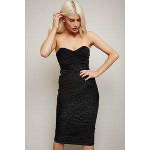 Little Mistress Inessa Black Glitter Mesh Bandeau Midi Dress Size: 10 A20lm0106bk10