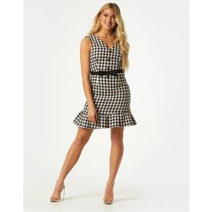 Little Mistress Keirah Houndstooth Pephem Pinafore Dress Size: 8 Uk, C S21lm0106mo8