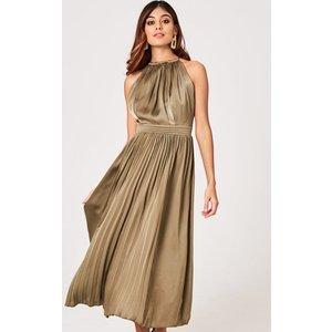 Little Mistress Laurie Khaki Satin Halter Midaxi Dress Size: 6 Uk, Col A9lm0109gr6