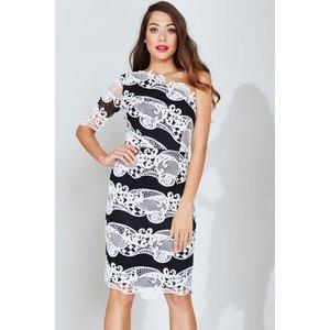 Little Mistress Monochrome Colour Block Lace Dress Size: 12 Uk, Colour Aw16 Aac036 9712
