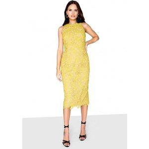 Little Mistress Mustard Lace Dress Size: 12 Uk, Colour: Yellow S8lm01102yl12