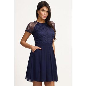 Little Mistress Navy Lace Detail Cap Sleeve Fit And Flare Dress Size: Ss14 Aab022 7812