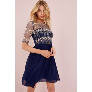 Little Mistress Navy Mesh Embroidered Dress Size: 12 Uk, Colour: Navy Aw15 Aac013 7812