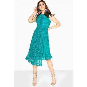 Little Mistress Poppy Lace Dress With Asymmetric Hem Size: 12 Uk S8lm01137gr12
