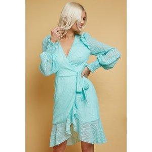 Little Mistress Sorina Aqua Textured Pattern Mini Wrap Dress Size: 16 S21lm0115gr16