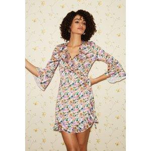 Little Mistress Sublime Floral-print Satin Frill Wrap Dress Size: 12 U S20gf0113mu12