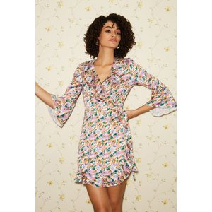 Little Mistress Sublime Floral-print Satin Frill Wrap Dress Size: 6 Uk S20gf0113mu6
