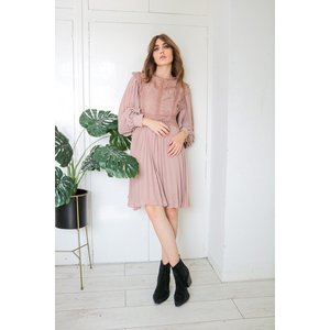 Nude  High Neck Lace Frill Smock Dress Size: Xs, Colour: Nude S20tr0104nuxs