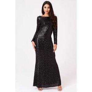 Outrageous Fortune Sequin Cowl Back Maxi Dress Size: 6 Uk, Colour: Bla A8of0103bk6