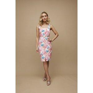 Paper Dolls Aki Peony Floral-print Square-neck Belted Dress Size: 8 Uk S20pd0143mu8