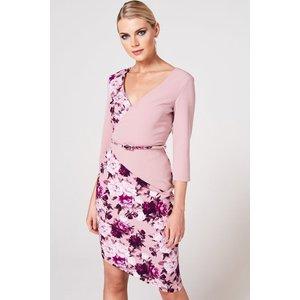 Paper Dolls Akita Dusty Blush Floral-print Belted Dress Size: 6 Uk, Co A9pd0122mu6