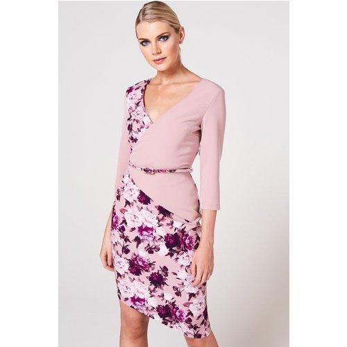 Paper Dolls Akita Dusty Blush Floral-print Belted Dress Size: 14 Uk, C A9pd0122mu14