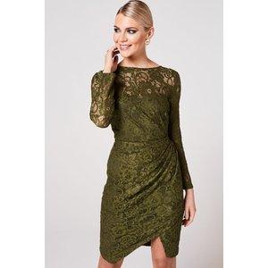 Paper Dolls Ama Olive Ruched Lace Dress Size: 8 Uk, Colour: Olive A9pd0101gr8