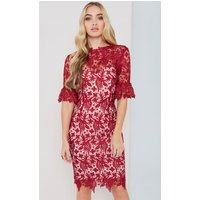 Paper Dolls Berry Lace Dress With Fluted Sleeves Size: 8 Uk, Colour: B Aw16 Pdab052 308