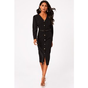 Paper Dolls Bianco Black Button Detail Belted Midi Dress Size: 16 Uk S20pd0102bk16