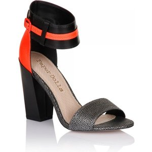 Paper Dolls Black And Coral Metallic Two Strap Heels Size: Footwear 5 Ss15 Pdsg004 245