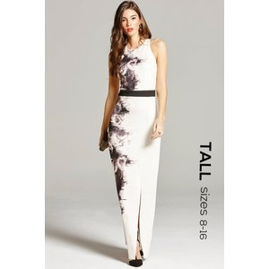 Paper Dolls Black And Nude Rose Print Maxi Dress Size: 12 Uk, Colour: Ss16 Tad002 4512