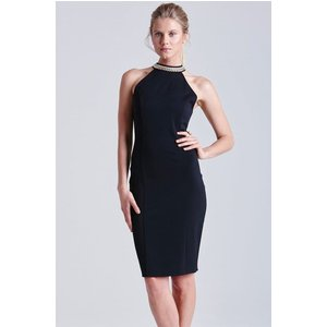 Paper Dolls Black Embellished Neck Cut Out Dress Size: 14 Uk, Colour: Ss15 Pdac054 9914