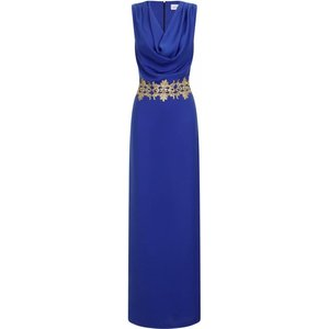 Paper Dolls Blue Gold Lace Trim Maxi Dress Size: 12 Uk, Colour: Blue Aw15 Pdad003 7012