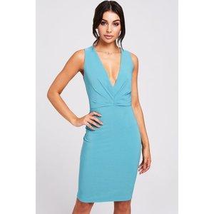 Paper Dolls Cadiz Aqua Plunge Dress Size: 14 Uk, Colour: Aqua S9pd0114bl14
