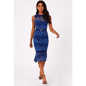 Paper Dolls Caletta Cobalt Lace Check Pephem Belted Midi Dress Size: 6 S20pd0101bl6