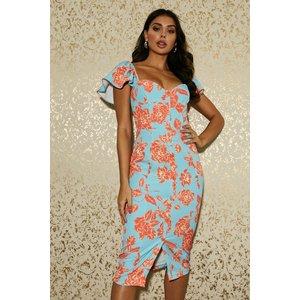 Paper Dolls Carson Aqua Floral-print Sweetheart Midi Dress Size: 6 Uk, S20pd0150mu6