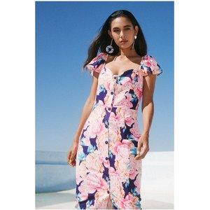 Paper Dolls Carson Navy Peony Floral-print Sweetheart Midi Dress Size: S20pd0146mu6