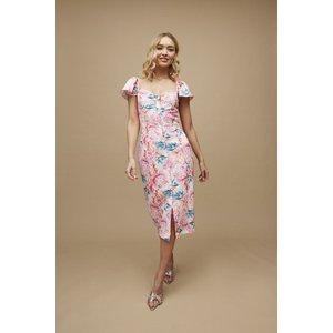 Paper Dolls Carson Pink Peony Floral-print Sweetheart Midi Dress Size: S20pd0144mu16