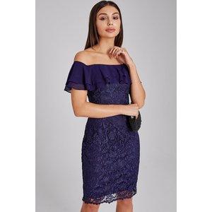 Paper Dolls Chandler Navy Lace Bardot Dress Size: 20 Uk, Colour: Navy A9pd0102ny20